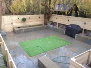 York stone patio and seating, fake turf ,fence